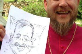 Wedding caricature of priest