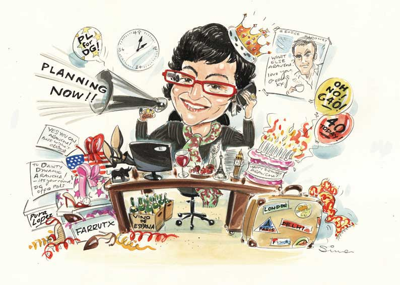 Simon caricature of busy woman