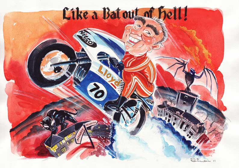 simon caricature of guy on motorbike