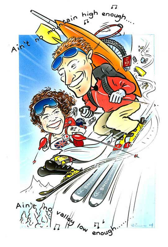 Simon caricature couple on ski's