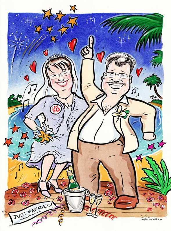 Simon party caricature