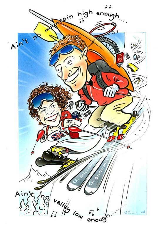 Simon caricature couple on ski's
